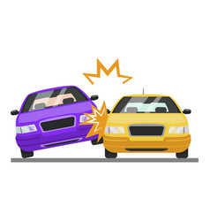 Road car accisent bad motor vehicle collision vector