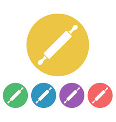 rolling pin colored round icons vector image