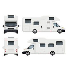 rv camper realistic family camping trailer vector image