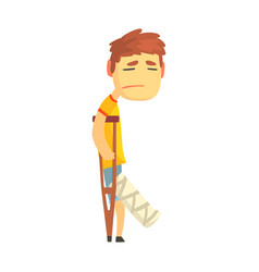 sad unhappy boy with broken leg walking with vector image