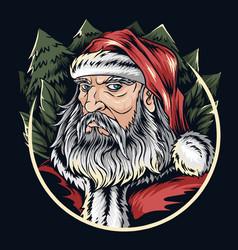 santa claus face on christmas eve editable layers vector image