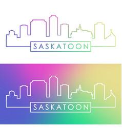 saskatoon city skyline colorful linear style vector image