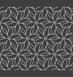 Seamless flower pattern on dark grey background vector
