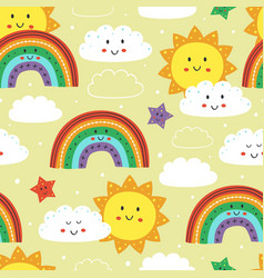 seamless pattern with cute sun rainbow and cloud vector image