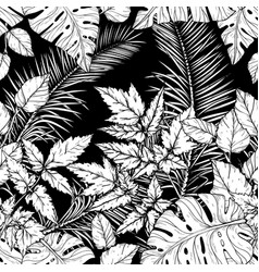 Seamless pattern with foliage branches and leaves vector
