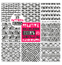 Set of 8 primitive geometric patterns collection vector