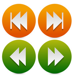 Set of buttons icons with next previous and fast vector