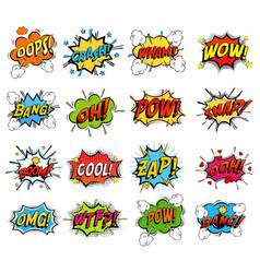 Set of comic bubble speech clouds onomatopoeia vector