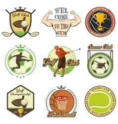 set vintage sports emblems vector image