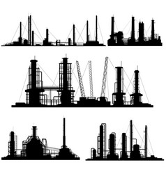 silhouettes of units for industrial part of city vector image