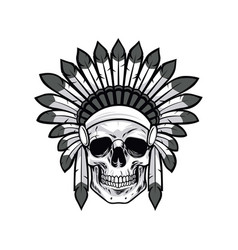 skull native american warrior drawing vector image
