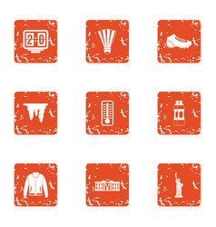 Sport rest day icons set grunge style vector