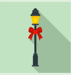 street light xmas pillar icon flat style vector image