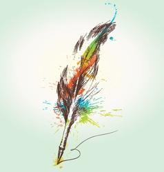stylized quill vector image
