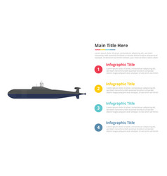 Submarine infographics template with 4 points of vector