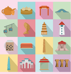 taipei taiwan city skyline icons set flat style vector image