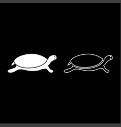tortoise turtle icon set white color flat style vector image