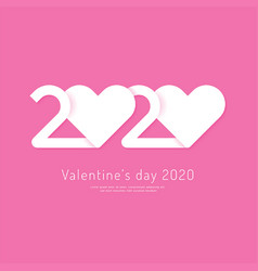 valentines day 2020 heart paper cut concept vector image