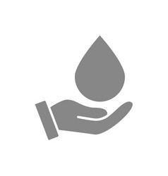 Water drop on hand grey icon cleaning supply vector