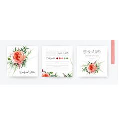Wedding floral minimalist watercolor invite card vector