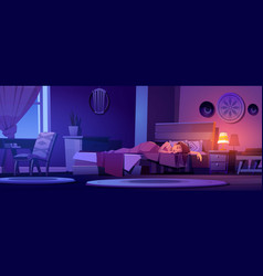 woman sleeps in bed in boho interior at night vector image