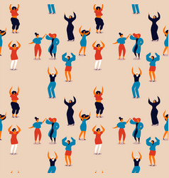 Womens day seamless pattern of happy women dancing vector
