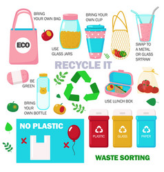 Zero waste set flat isolated vector
