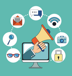digital marketing hand holding megaphone vector image