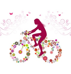 Silhouette of a Lady on a Bike vector image