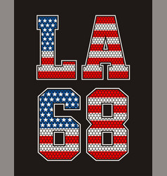 vintage retro la number 68 american flag vector image
