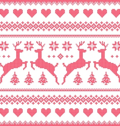 Winter Christmas red seamless pixelated pattern vector image vector image