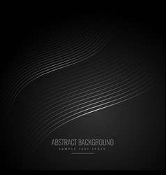 abstract black background with wave lines vector image vector image