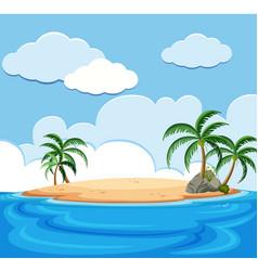 Background scene of island in the ocean vector