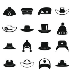 headdress hat icons set simple style vector image