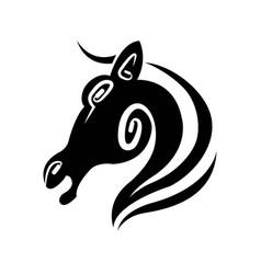 horse profile isolated minimalistic monochrome vector image