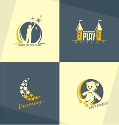 Kids world logo concepts vector image