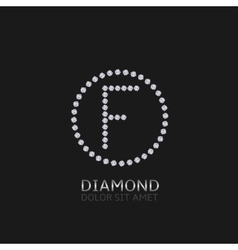 F letter with diamonds vector image
