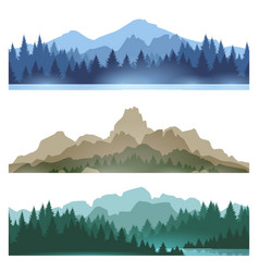 foggy mountains landscape set vector image