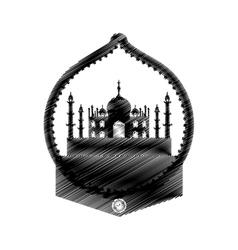 hand drawing taj mahal temple icon vector image