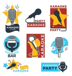Karaoke club and bar labels design vector image vector image