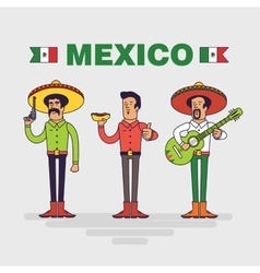 Mexican characters set Mexican bandit man vector image vector image