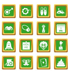 april fools day icons set green vector image