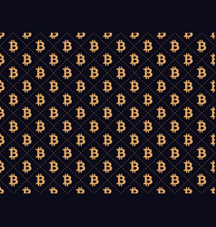 art deco seamless pattern with sign bitcoin gold vector image vector image