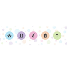 5 cardboard icons vector