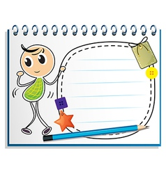 A notebook with a kid dancing at the cover page vector