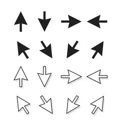 arrows set isolated direction pointer vector image