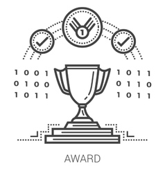 Award line icons vector