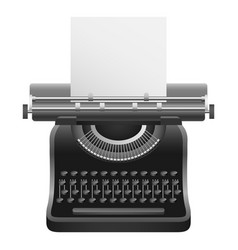 Black typewriter mockup realistic style vector