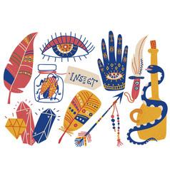 boho style symbols set feather palm with eye vector image