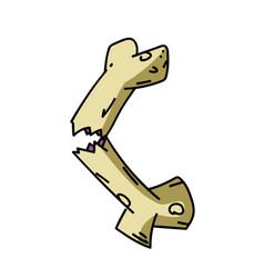 broken bone cartoon hand drawn image vector image